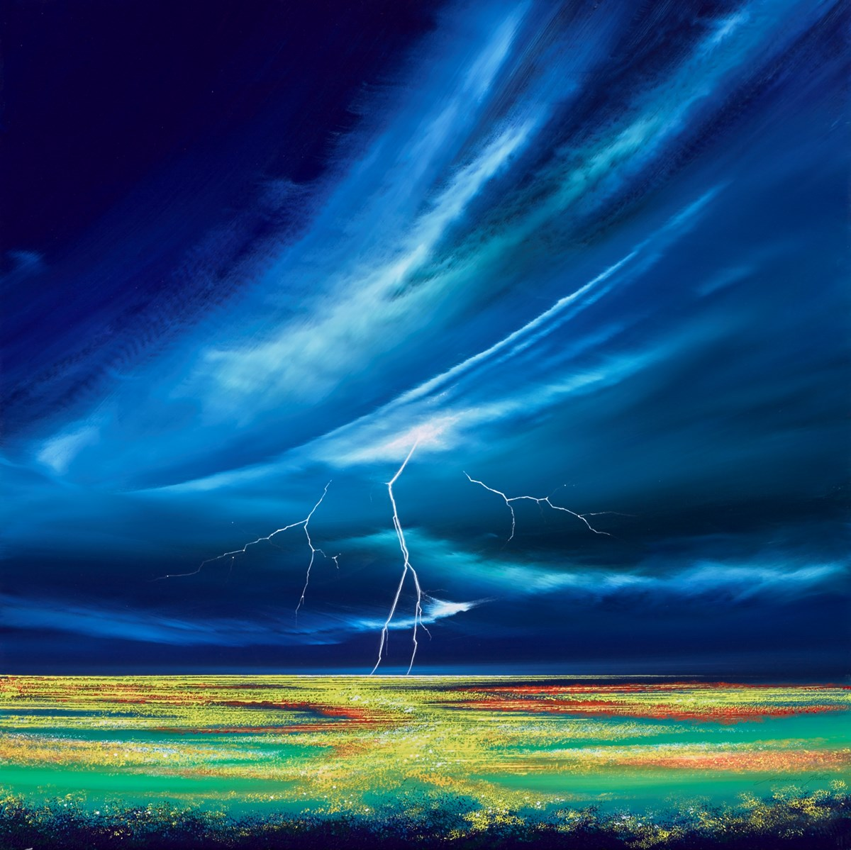 Lightning Landscape III by jonathan shaw -  sized 30x30 inches. Available from Whitewall Galleries